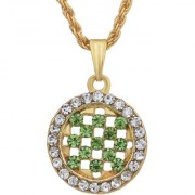 MissMister Gold Plated Round Shape Peridot Green CZ and White CZ Fashion Chain Pendant Women Stylish Latest