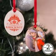 Fényképes ovális karácsonyfadísz