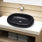 vidaXL Ceramic Bathroom Sink Basin Black Oval