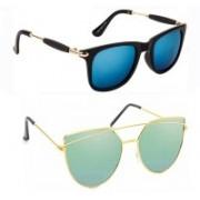 Elgator Wayfarer, Over-sized Sunglasses(Blue, Green)