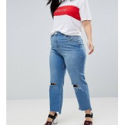 ASOS CURVE Farleigh Straight Leg Jeans with Seamed 80s detail - Blue