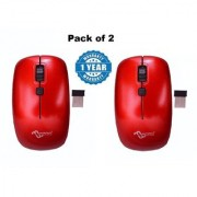 multybyte Wireless Optical Sleek Mouse shape MMPL W-1 For Dell Combo (Red Color)