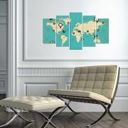 Tablou decorativ multicanvas Charm, 5 Piese, Harta Lumii, 223CHR3944, Multicolor