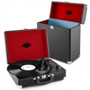 Auna PEGGY SUE колекционер на плочи комплект черен | ретро грамофон | куфар за плочи (PL-27037-30820)