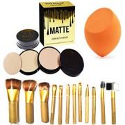 BELLA HARARO Kiss Beauty Matte Compact Powder And NAKED3 brush set 12 Pcs Makeup Powder with Sponge (combo of 3)