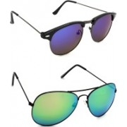 Hrinkar Round Sunglasses(Grey, Green)