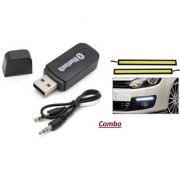 Combo of Car Bluetooth Device with DRL Daytime Led Light white