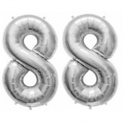 De-Ultimate Solid Silver Color 2 Digit Number (88) 3d Foil Balloon for Birthday Celebration Anniversary Parties