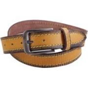 Lens Men Casual Yellow Genuine Leather Belt