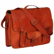 vidaXL Laptop Bag Real Leather Tan