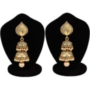 Penny Jewels Fashion Designer Alloy Party Wear For Wedding Latest Golden Jhumki Earring Set For Women Girls