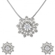 Mahi Crystal Floral Burst Rhodium Plated Pendant Set for Women NL1102717R