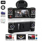 "indigi Dash CAM 2.7"" TFT LCD Dual Camera Rotated Lens Car DVR w/IR Night Vision New"