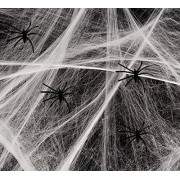 Playo Halloween Spider Webs With Plastic Spiders - 6 packs of Halloween Stretchable Spider Webbing Decorations - Halloween Trick or Treat Decorations