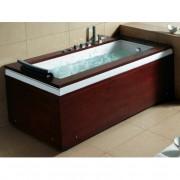 Vasca da bagno Idromassaggio Sung 180x90 cm completa di un pannello frontale e uno laterale in legno bianco