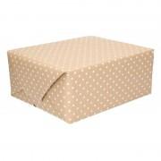 Shoppartners Bruin inpakpapier met witte stippen 200 cm