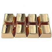 Weston Jewelers Electroplating Gold Metal Keycaps Covers Keyset Zinc QWER ASDF 4 Key Caps Covers Cherry MX Keycap for Me