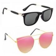 Elgator Wayfarer, Over-sized Sunglasses(Pink, Black)