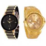 New Brand Super Fast Selling iik Gold Rosra gold analog watch for combo boys