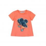 Tricou fete maneca scurta , orange , floare aplicata, Boboli