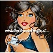 Diamond Painting Dame met espresso