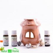 PACHET Candelă de aromaterapie și 3 sticluțe de ulei de parfum CRĂCIUN, COCOS și CIOCOLATĂ-PORTOCALĂ