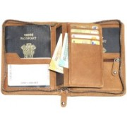 ABYS Durga Puja Special -Genuine Leather Passport Holder||Credit Card Holder with Metallic Zip Closure(Tan)