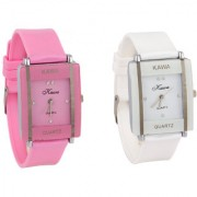 i DIVAS shree Combo Of Two Watches-Baby Pink White Rectangular Dial Kawa Watch For Women