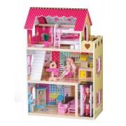 Jucarie Casa Mare Ryninowa din Lemn pentru Papusi cu 3 Etaje, Lift si 16 Piese Mobilier + 2 Papusi cadou