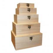 Set 5 cutii mari din lemn dreptunghiulare cu capac