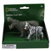 National Geographic Set 2 figurine - Hipopotam si Zebra NTS01007