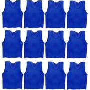 SAS Sports Training Bibs Scrimmage Vests Pennies for Soccer - Large size (62 x 54cm) Blue color Set of 12