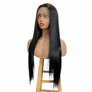 Sellers Destination Lace Front Black Wig for Women 22 Long Yaki Straight Middle Part Synthetic Wig Pre Plucked with Natural Hairline and Baby Hair
