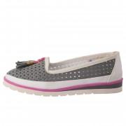 Pantofi copii, din piele naturala, marca Hobby bimbo, 2-14, gri
