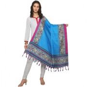 Swaron Blue and Pink Colored Animal Printed Bhagalpuri Silk Dupatta