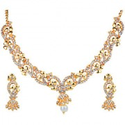 Kriaa by JewelMaze Zinc Alloy Gold Plated White Austrian Stone Necklace Set-AAA0629