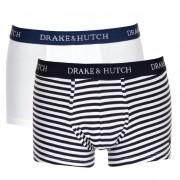 Drake & Hutch [2 Pack] Solid & Bengal Stripe Boxer Brief Underwear Navy & White