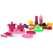 Dreams Kitchen Fun To Play Light Up & Sound Toy Kitchen Playset w/ Utensils, Food, Pans, Lights, Sounds, Lids, & Stove
