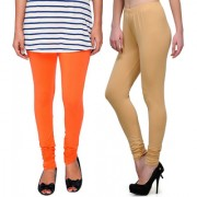 Stylobby Orange And Beige Kids Legging Pack Of 2