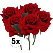 Bellatio flowers & plants 5x Rode rozen deluxe kunstbloemen 31 cm
