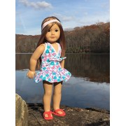 Doll Clothes Vintage Floral Doll Beach Swim Suit And Red Flip Flops Set Fits American Girl Dolls, Madame Alexander And Other 18 Inches Dolls