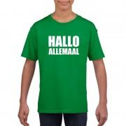 Shoppartners Hallo allemaal tekst groen t-shirt voor kinderen