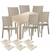 Set gradina terasa CULINARO LIHULU masa 90x150x75cm 6 scaune polipropilen/fibra sticla culoare capucino 6 perne scaun