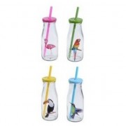 Geen 12x Glazen drinkglazen/drinkflesjes vogelprint met rietje 230 ml