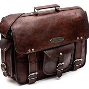 "Handmade World Leather Messenger Bags for Men Women 18"" Mens Briefcase Laptop Bag Best Computer Shoulder Satchel School Distressed Bag (13"" X 18"")"