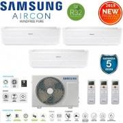 Samsung Climatizzatore Condizionatore Samsung Inverter Trial Split Windfree Pure 7000+7000+7000 Con Aj052rcj R-32 Smart Wifi - New 2019 7+7+7