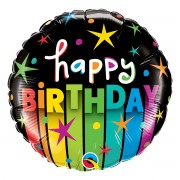 Balon Happy B-day negru cu dungi 45 cm