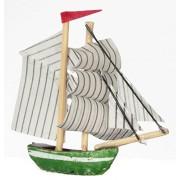 R.B. Foltz & Co. Dollhouse Miniature Green & White Sailing Ship w/Striped Sails