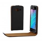 Khaki Revestimiento Vertical Flip Hebilla Magnetica PU Funda De Cuero Para Samsung Galaxy J2 / J200 (negro)