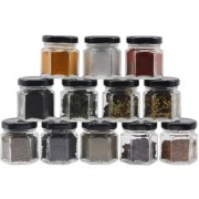 Glazzure Cute 50 ml Hexagon Shaped Airtight Glass Jar Containers for Honey Spices & other Kitchen Items with Rust Proof Black Caps Set of 12 pcs
